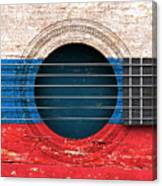 Flag Of Russia On An Old Vintage Acoustic Guitar Canvas Print