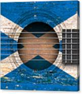 Flag Of Scotland On An Old Vintage Acoustic Guitar Canvas Print