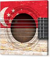 Flag Of Singapore On An Old Vintage Acoustic Guitar Canvas Print