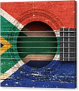 Flag Of South Africa On An Old Vintage Acoustic Guitar Canvas Print