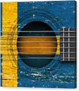 Flag Of Sweden On An Old Vintage Acoustic Guitar Canvas Print