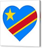 Flag Of The Congo Heart Canvas Print