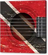 Flag Of Trinidad And Tobago On An Old Vintage Acoustic Guitar Canvas Print
