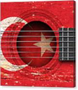 Flag Of Turkey On An Old Vintage Acoustic Guitar Canvas Print