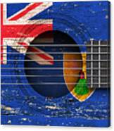 Flag Of Turks And Caicos On An Old Vintage Acoustic Guitar Canvas Print