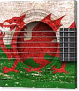 Flag Of Wales On An Old Vintage Acoustic Guitar Canvas Print