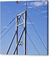 Flag On Perkins Cove Bridge - Maine Canvas Print