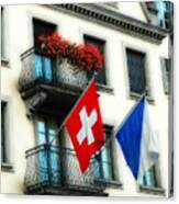 Flags Of Switzerland And Zurich Canvas Print