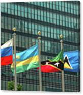 Flags Of Various Nations Outside The United Nations Building. Canvas Print