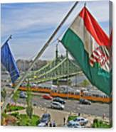 Flags Over Budapest Canvas Print
