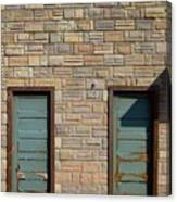 Flagstone Wall And Two Green Doors Canvas Print