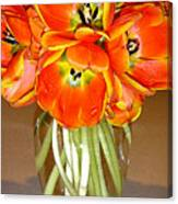 Flaming Tulips In A Vase Canvas Print