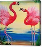 Flamingo Courtship Dance Canvas Print