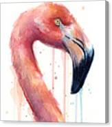 Flamingo Painting Watercolor - Facing Right Canvas Print