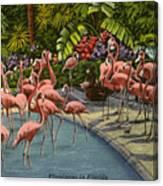 Flamingos Vintage Postcard Canvas Print