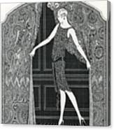 Flapper Opening A Curtain Canvas Print