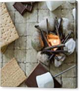 Flat Lay Camp Fire S'mores Deconstructed Canvas Print