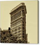 Flatiron Building In Sepia Canvas Print