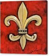 Fleur De Lies Red Background Canvas Print