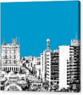 Flint Michigan Skyline - Aqua Canvas Print