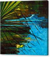 Floating Gold On Reflected Blue Canvas Print
