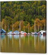 Floating Homes Along Multnomah Channel In Portland Oregon Canvas Print