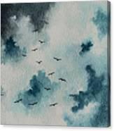 Flock Of Birds Against A Dark Sky  Canvas Print