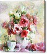 Floral Bouquet Table Setting In Tiny Bubbles Canvas Print