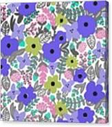 Floral Burst Of Blue Canvas Print