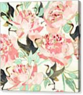 Floral Cranes Canvas Print