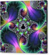 Floral Fractal Art Jewel Tones Vertical Canvas Print