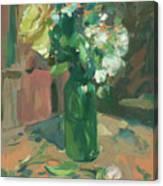 Floral Green Vase Canvas Print