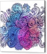 Blue Floral Indian Pattern Canvas Print