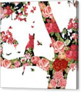 Floral Minimalist Style Cat, Tree And Birds Canvas Print