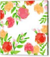 Floral Watercolor Border  Canvas Print