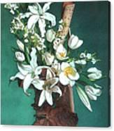 Floral White Lilies  Canvas Print