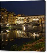Florence Italy Night Magic - A Glamorous Evening At Ponte Vecchio Canvas Print