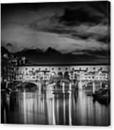 Florence Ponte Vecchio At Sunset Monochrome Canvas Print