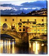 Florence - Ponte Vecchio Sunset From The Oltrarno Canvas Print