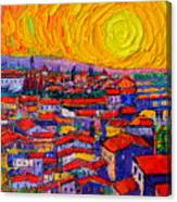 Florence Sunset 10 Modern Impressionist Abstract City Knife Oil Painting Ana Maria Edulescu Canvas Print