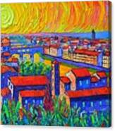 Florence Sunset 4 Modern Impressionist Abstract City Impasto Knife Oil Painting Ana Maria Edulescu Canvas Print