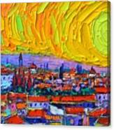 Florence Sunset 5 Modern Impressionist Abstract City Impasto Knife Oil Painting Ana Maria Edulescu Canvas Print
