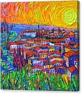 Florence Sunset 7 Modern Impressionist Abstract City Impasto Knife Oil Painting Ana Maria Edulescu Canvas Print