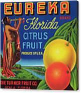 Florida Eureka Citrus Fruit Crate Label Canvas Print