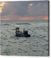Florida Lobstermen At Dawn Canvas Print