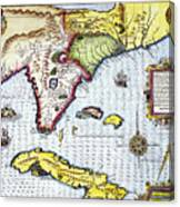 Florida: Map, 1591 Canvas Print