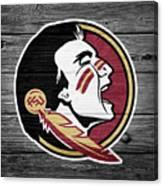 Florida State University Seminoles Logo On Weathered Wood Canvas Print