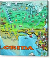 Florida Usa Cartoon Map Canvas Print