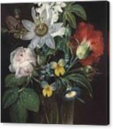 Flower And A Delphinium In A Glass Vase Canvas Print