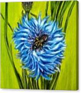 Flower And Bee Oil Painting Canvas Print